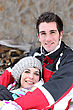 Winter Sports Couple In The Mountains stock photography