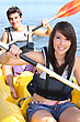 Opposites Couple Kayaking On A Warm Summer's Day stock image