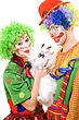 Couple Of Clowns With A White Rabbit. stock image