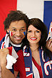 Couple Of French Soccer Fans stock photography