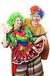 Happiness Couple Of Playful Clowns. stock photography