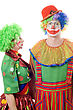 Couple Of Serious Clowns. stock image