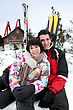 Alpine Couple On A Skiing Holiday stock photo