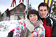 Winter Sports Couple On A Skiing Vacation stock photo
