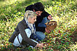 Printing Couple Picking Mushrooms stock photo