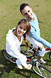 Runner Couple Relaxing On A Bicycle stock image