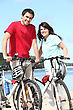 Couple Riding Bicycles stock image