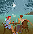Couple Romance Saiting About Tropical Sea stock illustration