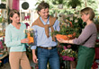 Couple Shopping At Flower Shop stock image