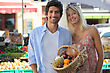 Couple Shopping At Market stock photo