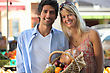 Husband Couple Shopping At The Local Market stock photo