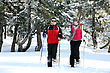 Skiing Couple Skiing Together stock photography