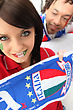 Italy Couple Supporting The Italian Soccer Team stock image