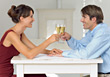 Couple Toasting With Champagne Glasses stock photo