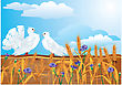 Couple Of White Pigeons With Beautiful Summer Wild Flowers And Ears