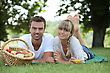 People Eating  Couple With A Basket Of Fruit stock photography
