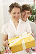 Couple with Holiday Present stock photography