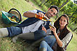 Couple With Wine In The Field stock image