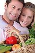 Couples Couple Wuth Basket Hugging stock photography