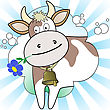 Cow With A Flower In Radiant White And Blue Background stock vector