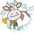 Cow With An Orange Flower In Radiant White And Blue Background stock illustration