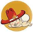 Cowboy Baby With Big Western Hat.Vector Funny Illustration