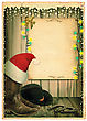 Cowboy Christmas Background With Santa Hat And Antique Paper For Text On Old Card