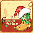 Cowboy Christmas Card With American Boots And Santa Hat.Vector Illustration For Design