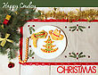 Cowboy Christmas Greeting Card With Cookies On Plate.Holiday Background With Text And Holiday Decorations stock photography