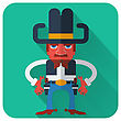 Cowboy With Guns.Vector Icon Of Flat Design Style Illustration stock image