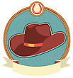 Cowboy Hat Label With Scroll For Text Illustration