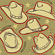 Cowboy Hats Seamless Pattern For Western Background.
