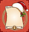 Cowboy New Year Card With Santa Red Hat And Lasso.Vector American Scroll Background For Text