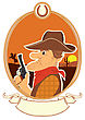 Cowboy Portrait In Decor Rope Frame.Vector Color Cartoons With Scroll For Text