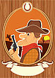 Cowboy Portrait In Decor Rope Frame.Vector Color Cartoons With Scroll For Text On Wood Texture