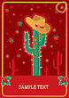 Cowboy Red Christmas Card With Green Cactus And Winter Holiday Decoration For Text
