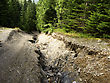 Cracked Road In Carpatian Mountains stock image