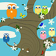 Creative Background For Springtime With Cute Owls And Butterflies