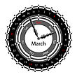 Creative Idea Of Design Of A Clock With Circular Calendar For 2012. Arrows Indicate The Day Of The Week And Date. March