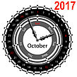 Creative Idea Of Design Of A Clock With Circular Calendar For 2017. Arrows Indicate The Day Of The Week And Date. October