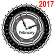 Creative Idea Of Design Of A Clock With Circular Calendar For 2017. Arrows Indicate The Day Of The Week And Date. February