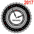 Creative Idea Of Design A Clock With Circular Calendar For 2017. Arrows Indicate The Day Of The Week And Date. January