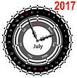 Creative Idea Of Design Of A Clock With Circular Calendar For 2017. Arrows Indicate The Day Of The Week And Date. July