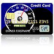 Credit Card Speedometer With Shadow Over Wite Background. stock vector
