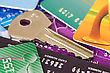 Identification Credit Cards And Key - Safe Banking Concept stock image