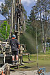 Crew Working A Drilling Rig In The Search For Bore Water, Westland stock photography
