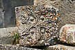Religious Cross-stones Or Khachkars At The 9th Century Armenian Monastery Of Tatev. Khachkars Are Carved Memorial Stele, Covered With Rosettes And Other Patterns, Unique Art Of Medieval Christian Armenia.There stock photography