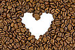 Crowded Coffee Beans Shows A Heart Shape stock photo
