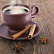Cup Of Coffee With Cinnamon And Anise On The Wooden Background stock photo