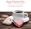 Cup Of Coffee And Homemade Cookies On The Table For The Holiday Valentine's Day stock photography